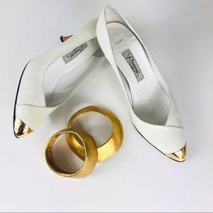 Vtg Rangoni Pumps White Pearl Leather & Gold Toe